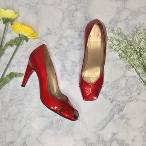 Stuart Weitzman Red Patent Peep Toe Heels Sz 8.5